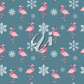 Cute Pink Flamingo New Year and Christmas Seamless Pattern Background Vector Illustration EPS10