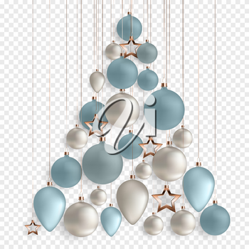 3d Christmas balls for holiday new year design on transparent background. Vector illustration. EPS10