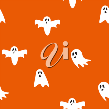Ghost icon cute cartoon character, seamless pattern background, Vector illustration EPS10