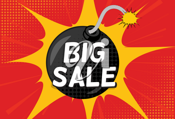 Sale Background with Speech Bubble and Bomb in Pop Art Style. Vector Illustration EPS10