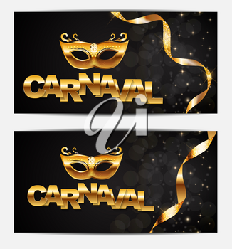 Carnival banner with bunting flags and flying balloons. Vector illustration. EPS10