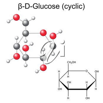 Structural chemical formula and model of glucose - beta-D-glucose, 2d and 3d illustration, vector, isolated on white background, eps8