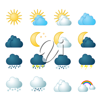 Meteorology icons set, 2d illustration, vector, eps8