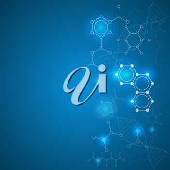 Chemical gradient background with organic and dna molecules, 2d illustration, vector, eps 10