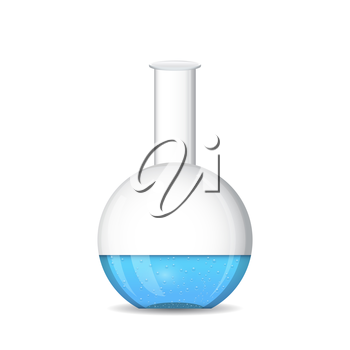 Flat bottomed chemical flask - laboratory glassware, isolated, 3d illustration, vector, eps 10