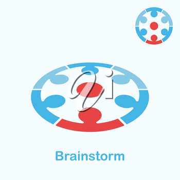 Brainstorm logo concept, 2d & 3d illustration, vector, eps 8