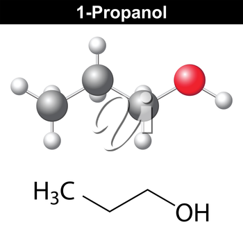 Propanol ( 1-propanol ) - structural chemical formula and model, 2d and 3d isolated vector, eps 8