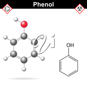Phenol - chemical formula and model, 2d and  3d vector isolated on white background, ball and stick style, eps 8