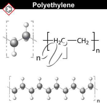 Structural chemical formula and model of polyethylene molecule, 2d & 3d vector, isolated on white background, eps 8