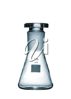 Chemical conical flask with a glass stopper isolated on white background, studio shot
