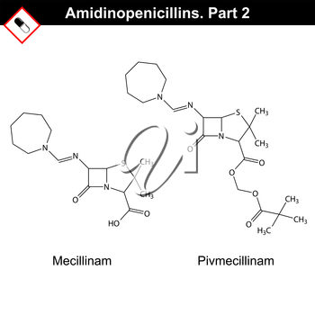 Chemical structures of amidinopenicillins - mecillinam and pivmecillinam, second part, 2d vector on white background, eps 8