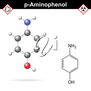 Para aminophenol chemical structure and model, 2d and 3d vector illustration, eps 8
