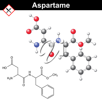 Aspartame - artificial sweetener, chemical model and molecular structure, E951 food additive, 2d and 3d vector illustration, isolated on white background, eps 8
