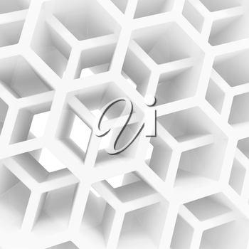 Abstract 3d architecture background with white double honeycomb structure