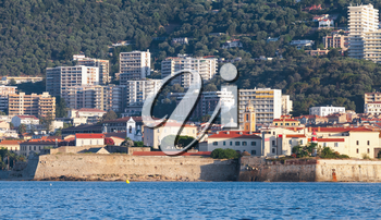 Ajaccio, coastal cityscape with ancient citadel, South Corsica, France