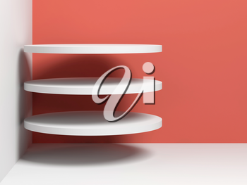 Three flying white cylindrical objects are in empty room corner, 3d render illustration
