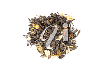 Pile of green Chinese tea with jasmine petals isolated on white background, top view, selective focus