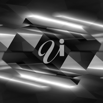 Abstract square digital background, black polygonal crystal structure, 3d illustration