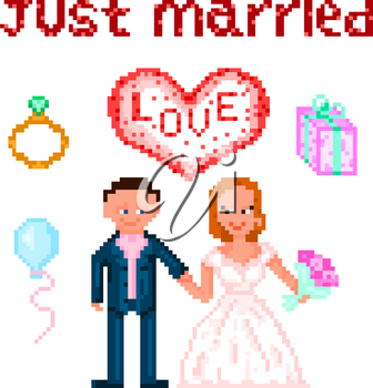 Set in style pixel art, wedding themes of the six elements. Vector illustration