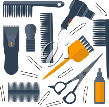 Set isolated tools for hairdressers in a flat style. Combs, brushes, scissors, hair dryer. The modern concept of icons for your design. Vector illustrations