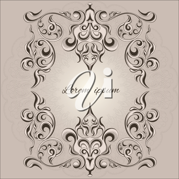 Ornamental frame decorative pattern Victorian style element for design and place text. Traditional floral decor. Vector illustration