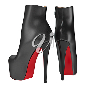 Leather black boots with zipper. 3D graphic object on white background isolated