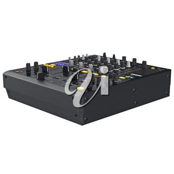 Black professional dj music mixer with controls settings. 3D graphic