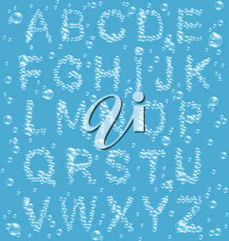 Air Bubbles Alphabet on Blue Background