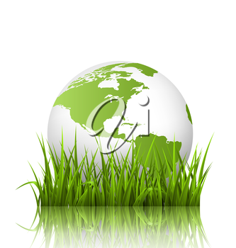 Green planet icon with globe and grass on white background