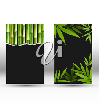 Green Bamboo Cards on Gray Background