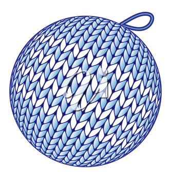 Blue knitted Christmas ball without shadow isolated on white background