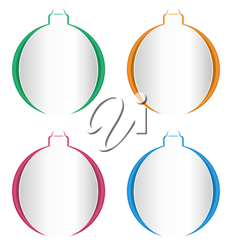 Christmas balls cutout on different backgrounds isolated on white