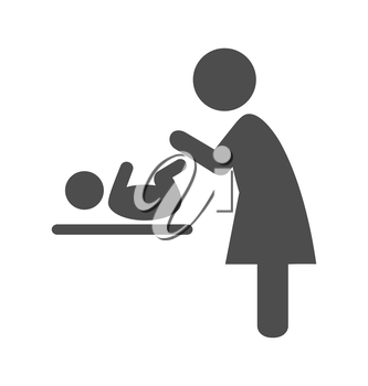 Mother swaddles the baby pictogram flat icon isolated on white background