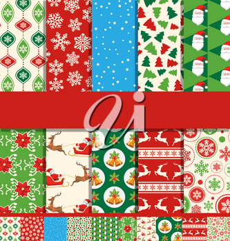 Set of 10 Seamless Bright Fun Christmas Patterns