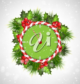 Candy cane clock with holly sprigs and pine branches in snowfall on grayscale background