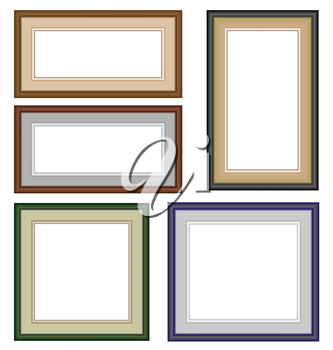 Five multicolor classic blank frameworks isolated on white
