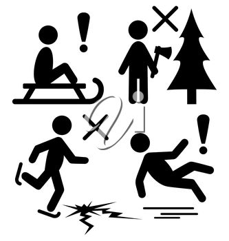 Set of Winter Caution Danger Information Flat Black Pictograms People Icons Isolated on White Background