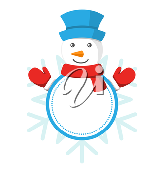 Christmas Label Icon Flat with Snowman Isolated on White Background
