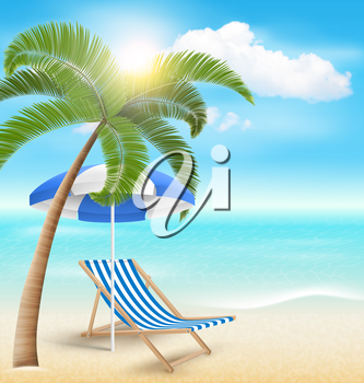 Beach with Palm Clouds Sun Beach Umbrella and Beach Chair. Summer Vacation Background
