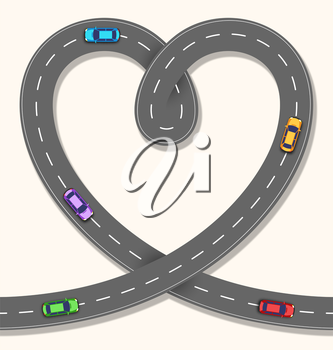 Seamless Heart Road with Cars on Beige Background