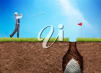 Businessman is hitting the golf ball to the hole with huge heap of ball in there