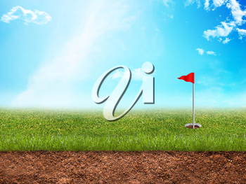 Golf hole with a red flag in grass