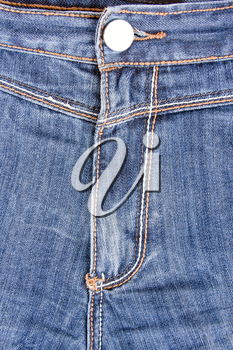 Close up of blue jeans front view