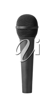 Close-up view of a modern black microphone. Isolated