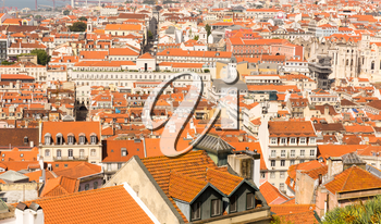 View of the european city roofs, Portugal