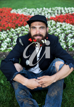 Bearded vagrant sitting in flowerbed with flowers in his beard