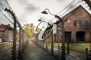 Barracks and barbed wire fence, territory of German prison Auschwitz II, Birkenau, Poland. Museum of victims of the nazi genocide of the Jewish people