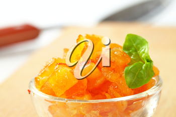 Candied citrus peel in a glass bowl