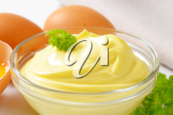 Bowl of homemade mayonnaise and fresh eggs