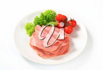 Stack of thinly sliced ham